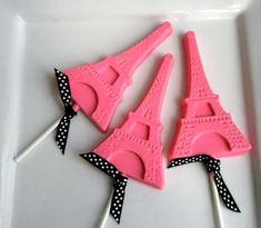 Pink chocolate Eiffel Tower pops