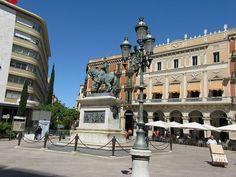 "Monument of Joan Prim in Reus (Tarragona, Catalonia) in front of the ""Teatre Fortuny"""