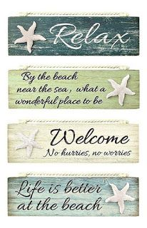 Coastal decor won& be complete without some beautiful beach signs and sayings wood plaques. These will look great in your beach house. Beach Cottage Style, Beach House Decor, Seaside Style, Coastal Style, Beach House Signs, Beach Theme Garden, Beach Wall Decor, Beach Signs Wooden, Beachy Signs