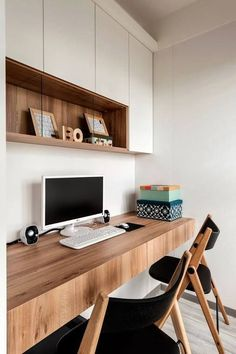 Contemporary Home Office Design Ideas - Search photos of contemporary home offices. Discover ideas for your trendy home office design with ideas for decor, storage as well as furniture. Office Nook, Home Office Space, Home Office Desks, Home Office Furniture, Office Table, Modern Home Offices, Furniture Design, Furniture Ideas, Office Shelf
