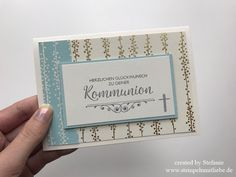Stampin Up - Karte - Card - Kommunion - Gold - Stempelset Segensfeste - Besonderes Designerpapier Babyglück ♥ StempelnmitLiebe