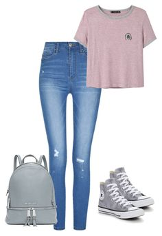 """""""Back to school"""" by pocok01 ❤ liked on Polyvore featuring MANGO, Converse and MICHAEL Michael Kors"""