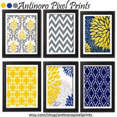Floral Digital Print Wall Art Yellow Navy Grey Vintage / Modern inspired Wall Art -Set of (6) - 8x11 Prints -   (UNFRAMED)