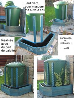 Pallet planter to hide water tank   1001 Pallets