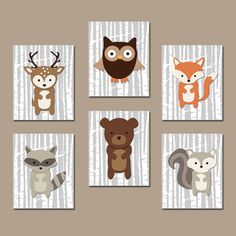 WOODLAND Wall Art Boy Nursery Artwork Birch Wood Forest Animal Deer Squirrel OWL Raccoon FOX Custom Monogram Initial Name Set of 6 Prints
