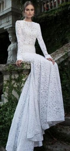 Elegant Backless Mermaid Lace White Long Sleeves Wedding Dress