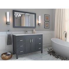 Spa Bathe Cora Pepper Gray Single Sink Bathroom Vanity with White with Grey Veins Engineered Stone Top Light Grey Bathrooms, Dark Gray Bathroom, Gray Vanity, Single Sink Bathroom Vanity, Gray And White Bathroom Ideas, Master Bathroom, Bathrooms With Gray Walls, Modern Bathroom Vanities, Small Spa Bathroom