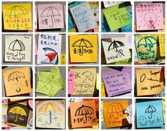 Hong Kong protest messages post-its~~