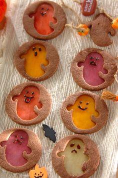 Ghost Cookies, Biscuit Cookies, Cute Cookies, Halloween Baking, Halloween Food For Party, Halloween Cookies, Window Cookies, Cookie Glaze, Animal Cupcakes