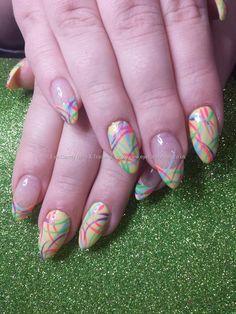Retro flick multicoloured nail art over acrylic nails. #NailArt #Nails Taken at:10/03/2015 10:59:38 AM Uploaded at:12/03/2015 7:42:23 PM Technician:Elaine Moore