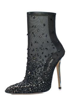 Oscar de la Renta Black Mesh Ankle Boots Fall 2014 #Shoes #Heels #Booties