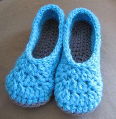 Woman Teen Slippers Handmade Crochet Turquoise Blue Size 6-7 Medium Warm