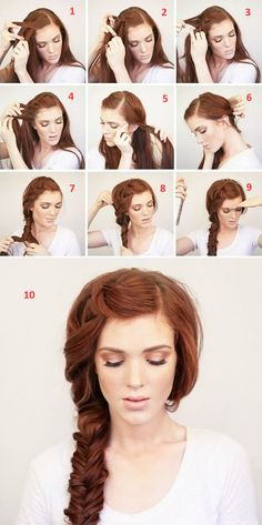 side-braid-with fishtail step by step tutorial
