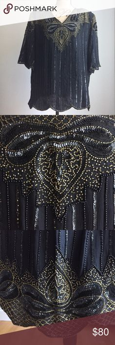 PLUS SIZE Formal Beaded Top and Skirt Absolutely gorgeous short sleeve beaded top and long beaded skirt with elastic waistband and matching beading along bottom. Beyond knockout look for holiday or any formal occasion - worn once - perfect condition!!!! Mégère Dresses