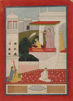 An Illustration from a Nayika Series: A Princess Entertained by Musicians. Opaque Watercolour. Heightened with Gold on Paper, India, Guler, circa 1780. Attributed to a follower of Nainsukh, 11 1/8 x 8 in. - 28.5 x 20.5 cm. Photo courtesy Nayef Homsi
