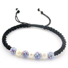 WithLoveSilver Jewelry Premium Blue Crystal and Pearl Shamballa Bracelet -
