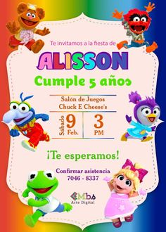 Chuck E Cheese, 1st Year Cake, Muppet Babies, Alonso, Disney Junior, Baby Party, Mickey Mouse Shirts, First Year, Birthday Invitations