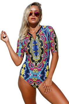 ae1ce53d0f200 Abstract Print Zip Front Half Sleeve One Piece Swimsuit Women s Swimsuits    Cover Ups