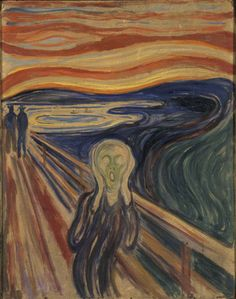 The Scream, c1910.  Tempera on board.  From Munch's diary:  I was walking along a path with two friends/ the sun was setting/ I felt a breath of melancholy/ Suddenly the sky turned blood-red/ I stopped and leant against the railing,  deathly tired/ looking out across flaming clouds that hung/ like - blood and a sword over the/ deep blue fjord and town/ My friends walked on - / I stood there trembling with anxiety/ And I felt a great, infinite scream pass/ through nature.