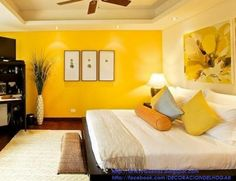 Be inspired by these beautiful ambiances where the luxury and hapiness find a place. Yellow Master Bedroom, Bedroom Orange, Bedroom Wall Colors, Living Room Decor, Bedroom Decor, Yellow Accent Walls, Home Room Design, New Room, Interior Design