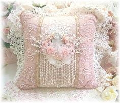 Cherub embroidered and sequined lace pillow in romantic antique colors-❥