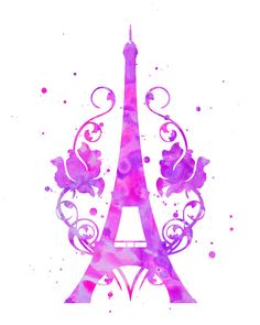 Eiffel Tower Print Watercolor By FluidDiamondArt