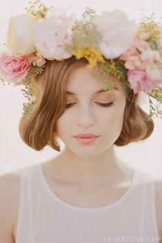 Natural beauty.  #floralcrown #wedding hairstyle with fresh #flowers. Order your fresh #bouquet here: www.bloomsybox.com/