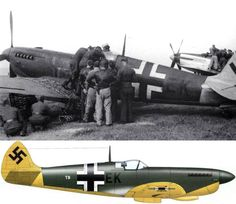 "The Spitfire PR.XI coded ""T9+EK"" of 2./Versuchsverband OKL photographed at Gottingen in July 1944. Its previous identity remains a mystery"