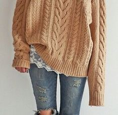 Denim, bit of feminine lace and cozy big sweater