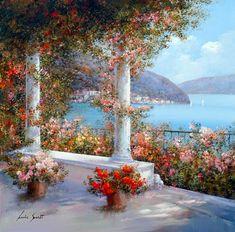 City Landscape, Fantasy Landscape, Watercolor Flowers, Watercolor Paintings, Mediterranean Art, Pintura Exterior, School Painting, Natural Scenery, Italian Artist
