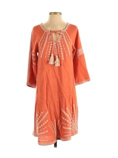 Designer Kurtis Online, Orange Dress, Drop Waist, Dresses For Sale, Casual Dresses, Tunic Tops, Tie, Sleeves, Clothes