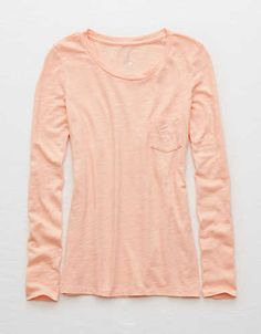 Aerie Real Soft® Long Sleeve Tee, Tangerine Crush | Aerie for American Eagle