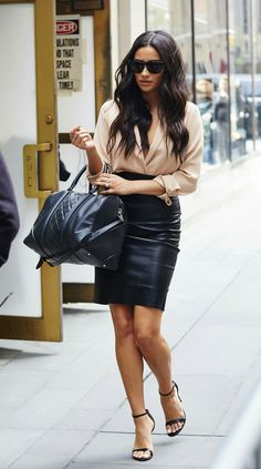 Shay Mitchell - leather pencil skirt