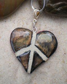 Raku finish on a peace sign heart mosaic tile necklace... wow!