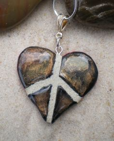 Raku finish on a peace sign heart mosaic tile necklace... wow!