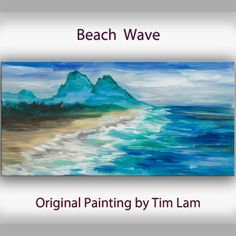 Wave Art Landscape Painting Original Acrylic Painting blue sky n sea beach by tim Lam on Etsy, €