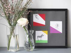 Cadres illustrés à partir de gravures anciennes et papiers de couleur / Framed old illustration with colored paper