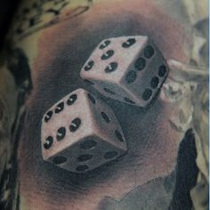 Black And White Dice Tattoo For Men With Number Eleven