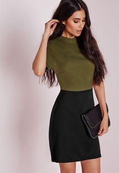 Missguided - Colour Block High Neck Shift Dress Khaki/Black