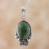 Jade pendant necklace, 'Praise Love'