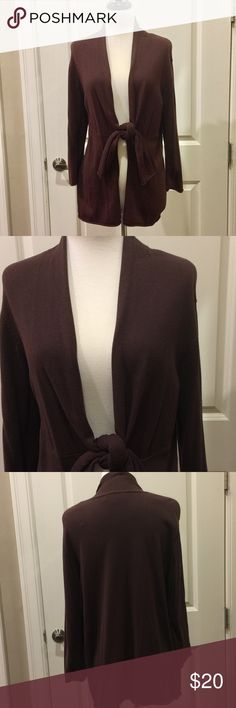 JONES NEW YORK cardigan Brown Jones New York cardigan sweater featuring 3/4-length sleeves and front tie. May be worn tied or untied. Jones New York Sweaters Cardigans
