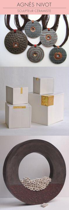 La céramiste Agnès NIvot est spécialisée dans la réalisation de sculptures architecturées en céramique. Venez admirer ses créations au printemps prochain sur le salon Révélations. 1/ Bijoux par Agnès Nivot 2/ Cubes porcelaine avec or 3/ Grand anneau céramique, terre noire patinée avec éléments en porcelaine blanche © Agnès Nivot #céramique #ceramic #ceramics #keramik #ceramica #contemporaryceramics #ceramicart #SalonRevelations #handmade #faitmain #sculpture #sculptures
