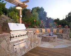 Fire Pit..... By pool BBQ ..... Side of house!