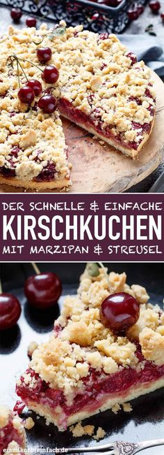 Simple cherry cake with marzipan and crumble - easy to cook- Einfacher Kirschkuchen mit Marzipan und Streusel – emmikochteinfach Cherry cake with marzipan and crumble Tea Cakes, Food Cakes, Cookie Recipes, Dessert Recipes, Cook Desserts, Breakfast Recipes, Cherry Cake, Easy Smoothie Recipes, Morning Food