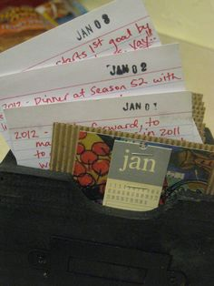 Index card journal calendar (my sister made this for me and i LOVE IT)