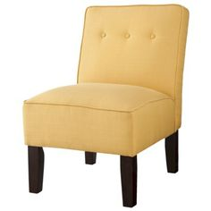Burke Slipper Chair with Buttons - comes in French yellow, charcoal, and turquoise (light) Armless Chair, Upholstered Chairs, Tufted Chair, Korn, Living Room Chairs, Living Room Furniture, Dining Room, Mesh Office Chair, Puff