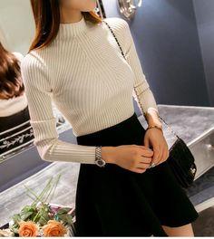 High elastic Turtleneck Sweater //Price: $21.95 & FREE Shipping // #ootd