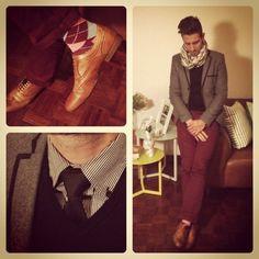 Wine pants and happy socks. #MensFashion