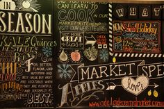 Chalkboard with changing seasonal offers from the Adelaide Central Market