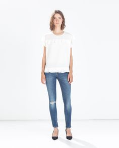 Image 1 of JEANS WITH RIPPED KNEE from Zara $49.90